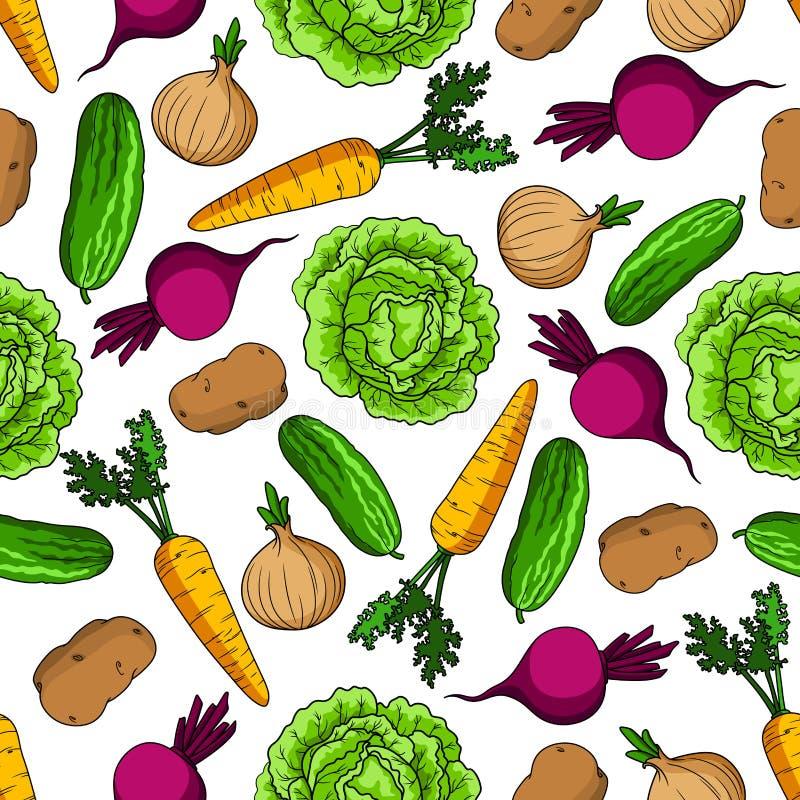 Modelo inconsútil vegetariano con las verduras frescas stock de ilustración