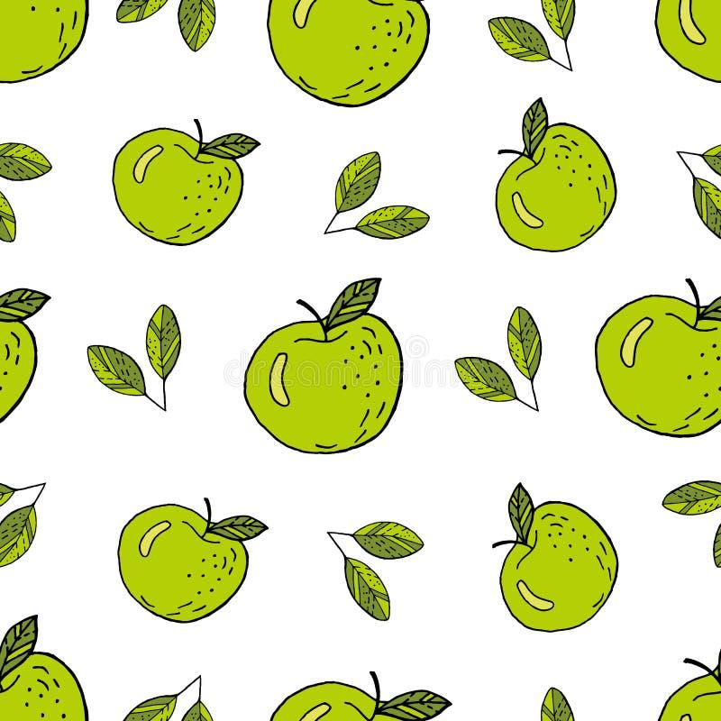 Modelo inconsútil verde de las manzanas libre illustration