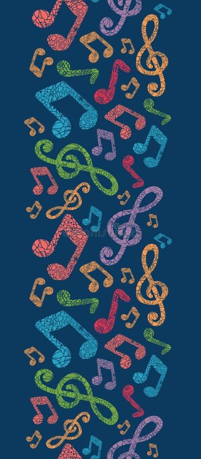 Modelo inconsútil vertical colorido de las notas musicales ilustración del vector