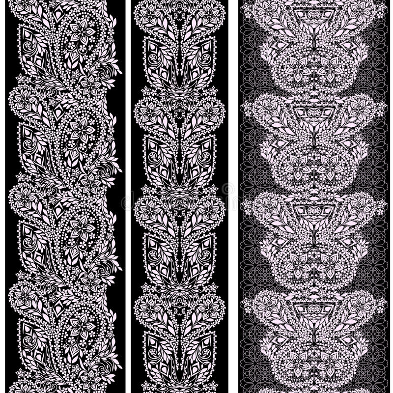 Modelo inconsútil vertical del cordón con Paisley y los elementos étnicos libre illustration