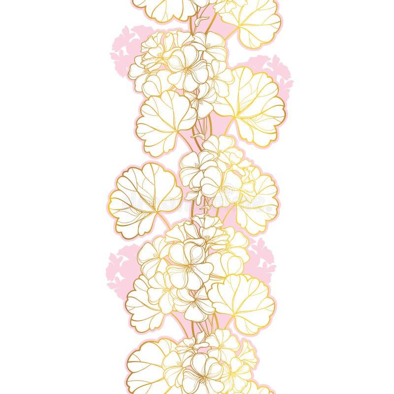 Modelo inconsútil vertical del vector con el manojo de la flor del geranio o de Cranesbills del esquema y hoja en oro y rosa en c libre illustration