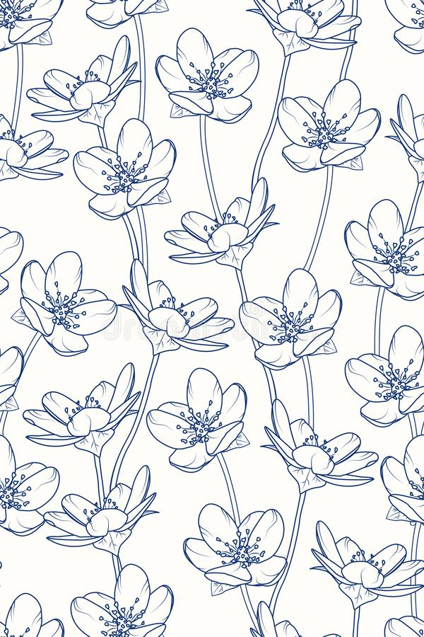 Modelo inconsútil vertical floral de la flor de cerezo del árbol de Sakura Línea de azules marinos oscura diseño Estilo japonés d libre illustration