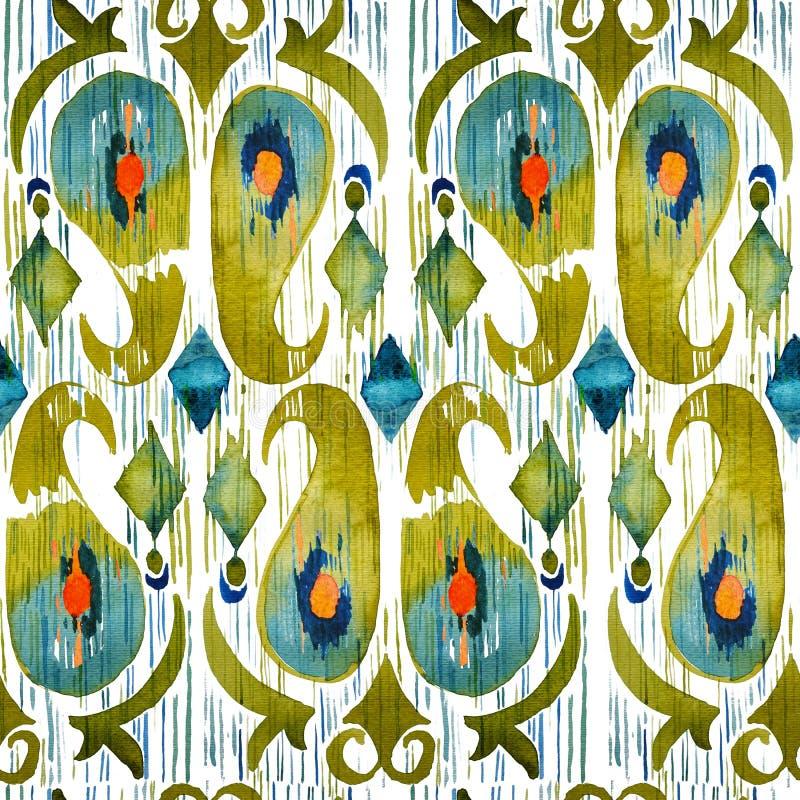 Modelo inconsútil vibrante del ikat verde de la acuarela Tribal de moda en estilo del watercolour Pluma del pavo real ilustración del vector