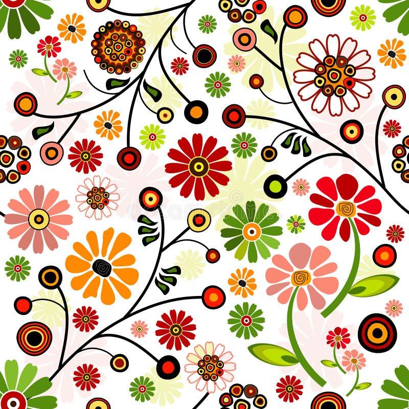 Modelo inconsútil vivo floral stock de ilustración