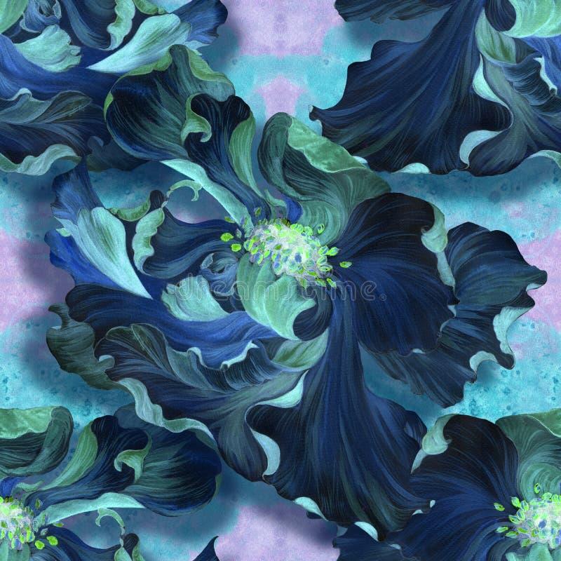 Modelo inconsútil watercolor Flores en un fondo de la acuarela Papel pintado abstracto con adornos florales ilustración del vector