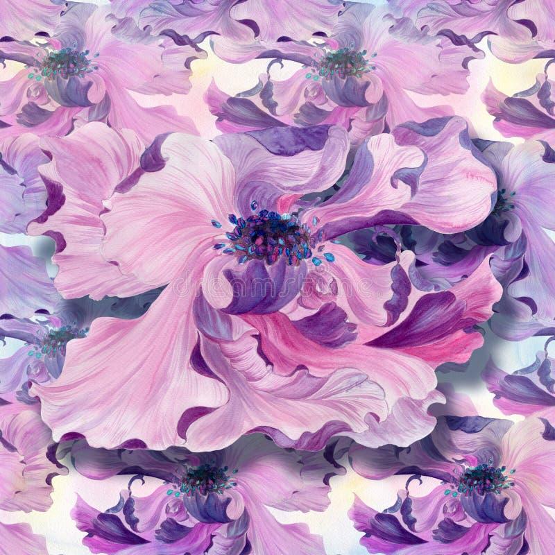 Modelo inconsútil watercolor Flores en un fondo de la acuarela Papel pintado abstracto con adornos florales stock de ilustración