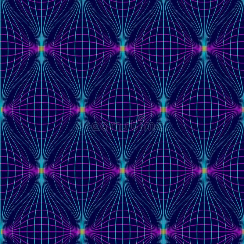 Modelo incons?til abstracto Fondo geométrico de neón con las líneas Repetición de rejilla digital de la deformación libre illustration