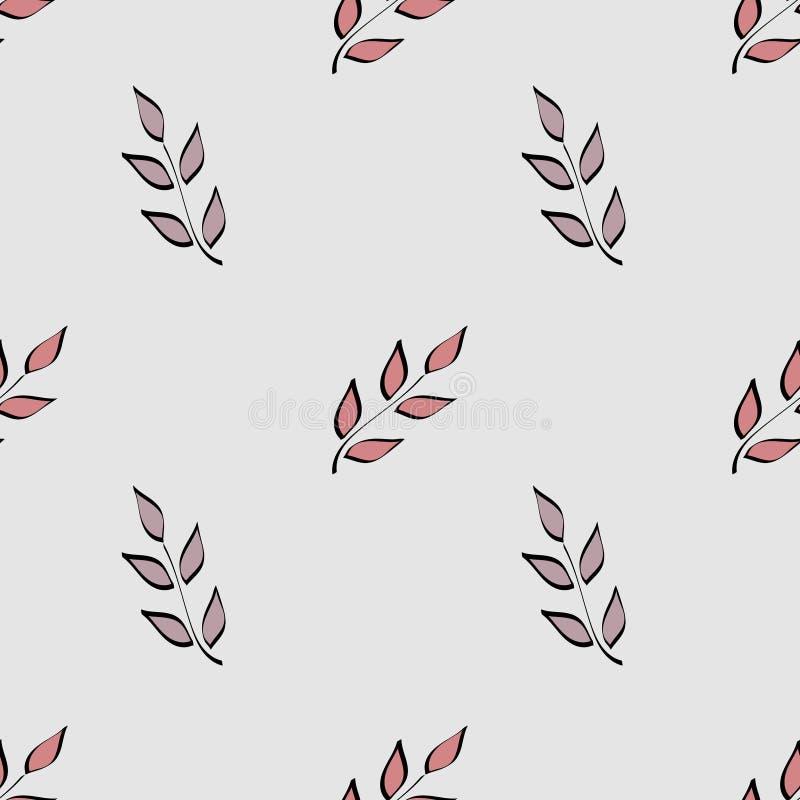 Modelo incons?til Adorno floral exhausto de la mano simple Ramitas con las hojas pintadas con un cepillo Conveniente para las tel stock de ilustración