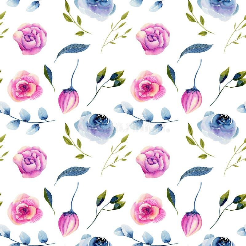Modelo incons?til azul de las rosas de la acuarela y de las peon?as del rosa libre illustration