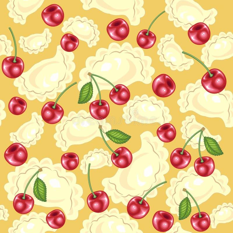 Modelo incons?til Bolas de masa hervida deliciosas frescas, vareniki Bayas rojas jugosas, cerezas Conveniente como papel pintado  ilustración del vector