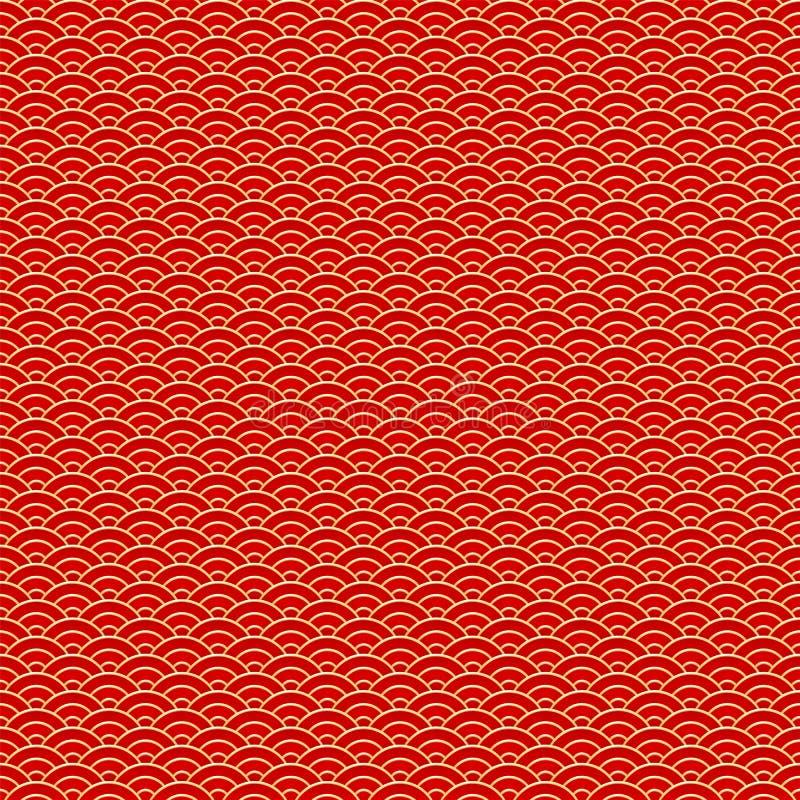 Modelo incons?til chino Fondo tradicional del ornamento de las nubes chinas rojas y de oro Ilustraci?n del vector stock de ilustración