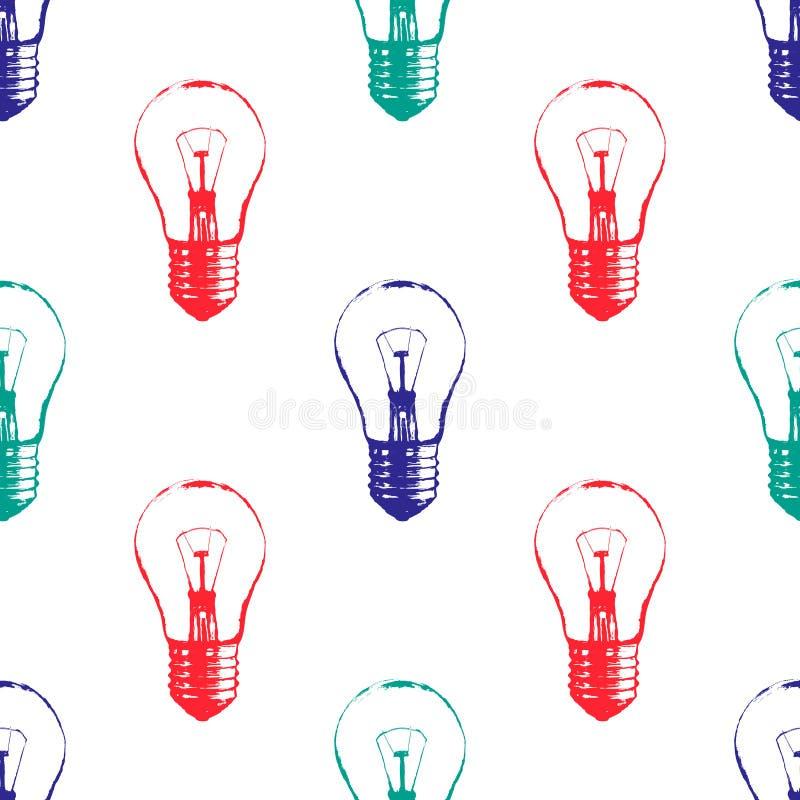 Modelo incons?til colorido del vector con las bombillas Estilo moderno del bosquejo del inconformista Idea y concepto creativo libre illustration