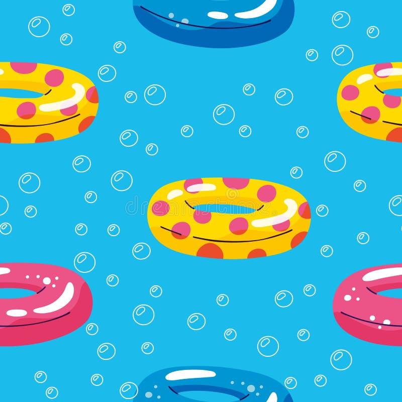Modelo incons?til colorido del verano con los elementos exhaustos de la playa de la mano Piscina del verano que flota con el círc libre illustration