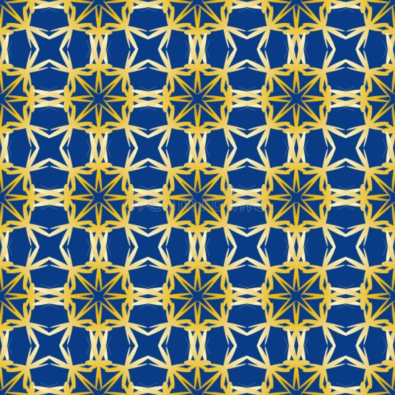 Modelo incons?til con el arreglo pedido de formas geom?tricas abstractas Modelo del oro en fondo azul stock de ilustración