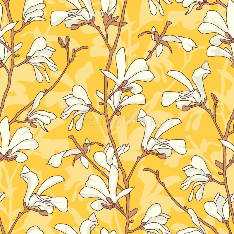 Modelo incons?til con el flor del ?rbol de la magnolia Fondo floral amarillo con la rama y la flor blanca de la magnolia Primaver stock de ilustración