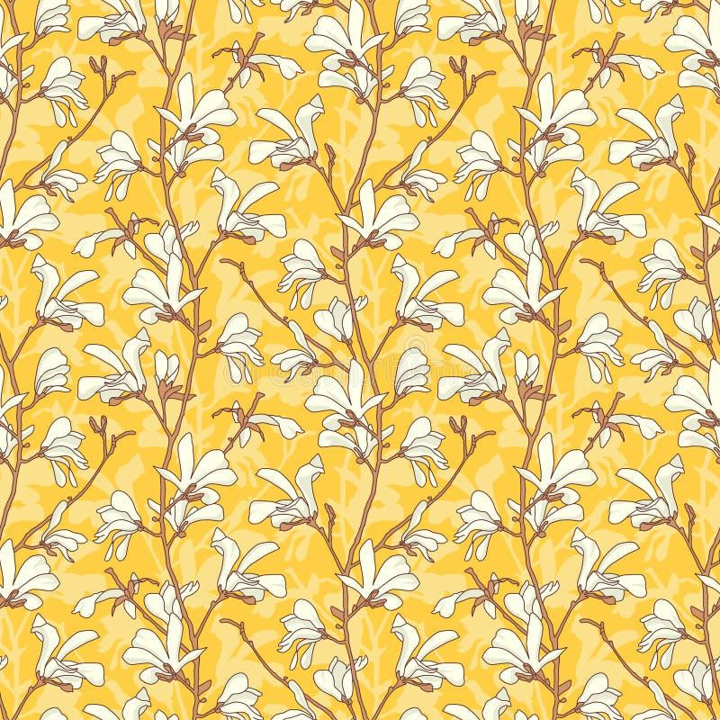 Modelo incons?til con el flor del ?rbol de la magnolia Fondo floral amarillo con la rama y la flor blanca de la magnolia Primaver libre illustration