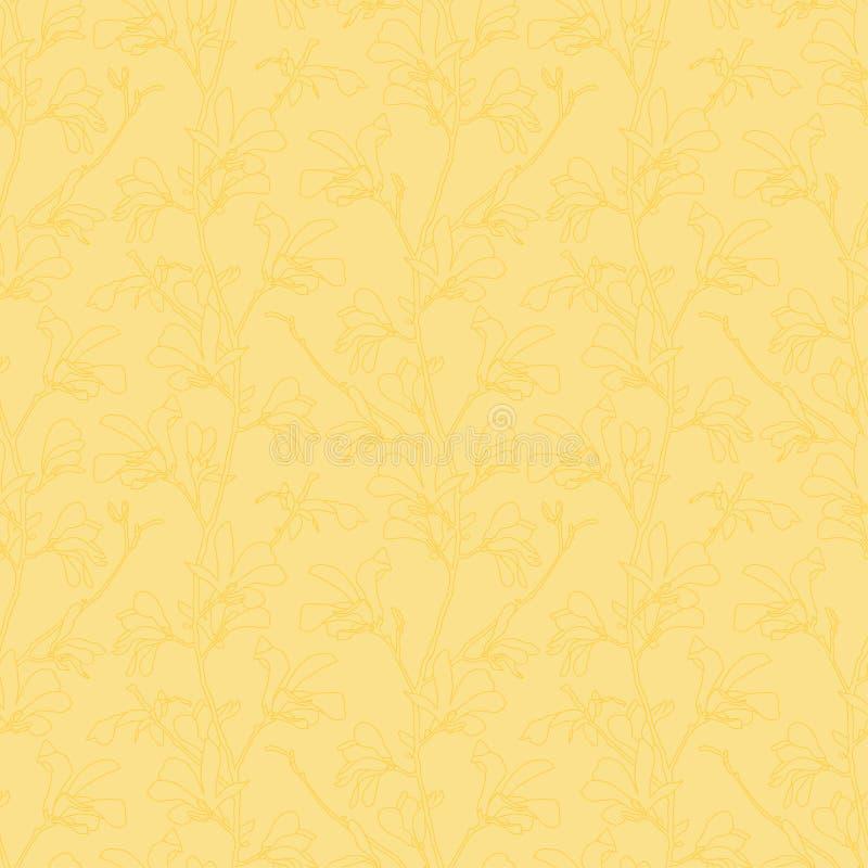 Modelo incons?til con el flor del ?rbol de la magnolia Fondo floral amarillo con la flor de la rama y de la magnolia Dise?o de la ilustración del vector