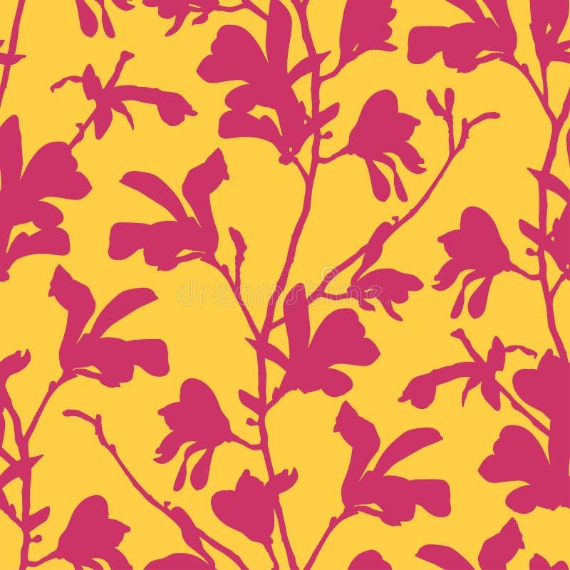 Modelo incons?til con el flor del ?rbol de la magnolia Fondo floral amarillo con la flor de la rama y de la magnolia Dise?o de la libre illustration