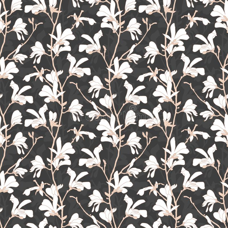 Modelo incons?til con el flor del ?rbol de la magnolia Fondo floral con la rama y la flor blanca de la magnolia Dise?o de la prim stock de ilustración
