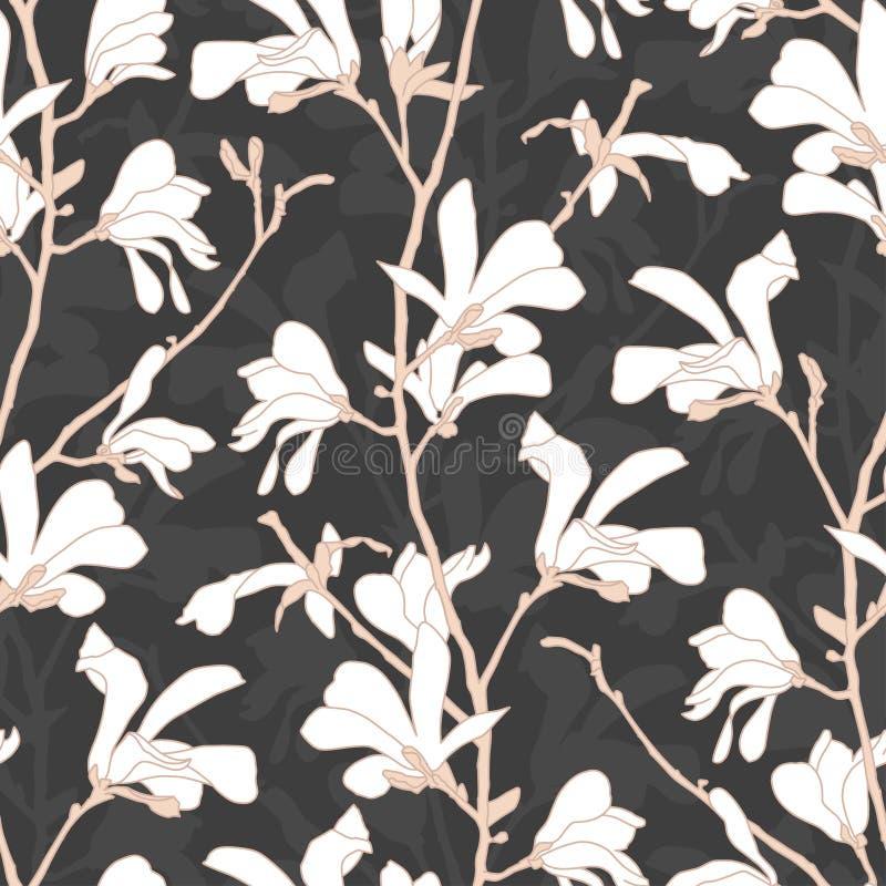 Modelo incons?til con el flor del ?rbol de la magnolia Fondo floral con la rama y la flor blanca de la magnolia Dise?o de la prim libre illustration
