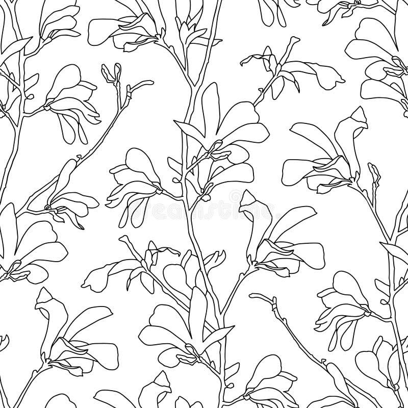 Modelo incons?til con el flor del ?rbol de la magnolia Fondo floral con la flor de la rama y de la magnolia Diseño de la primaver libre illustration