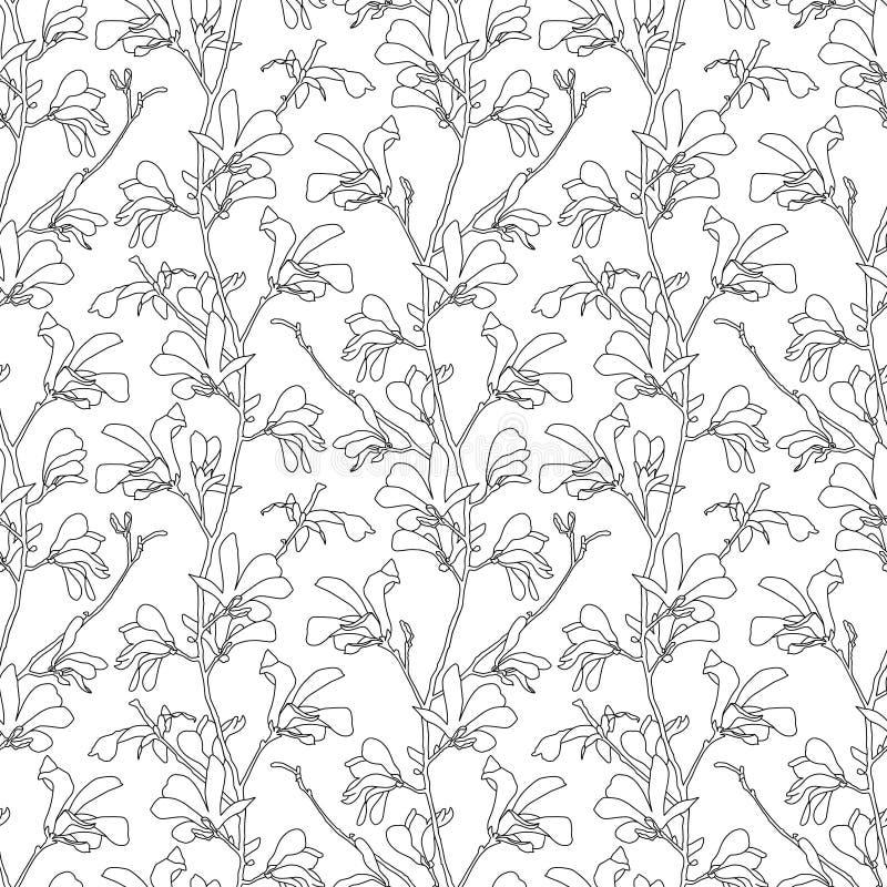 Modelo incons?til con el flor del ?rbol de la magnolia Fondo floral con la flor de la rama y de la magnolia Dise?o de la primaver libre illustration
