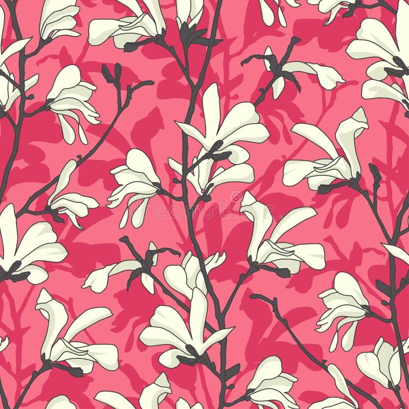 Modelo incons?til con el flor del ?rbol de la magnolia Fondo floral rosado con la rama y la flor blanca de la magnolia Dise?o de  ilustración del vector