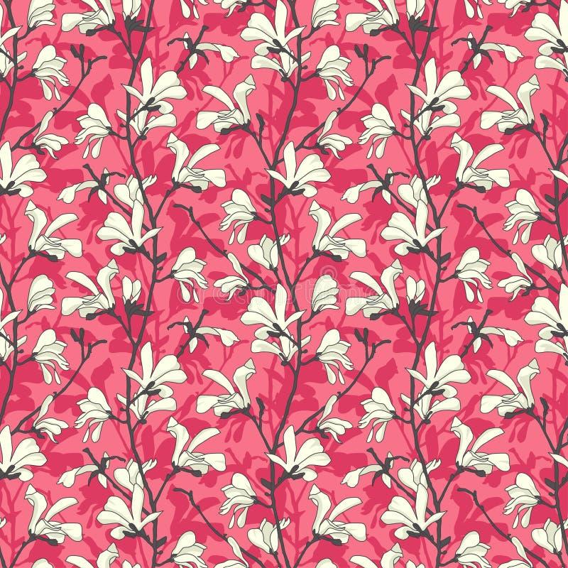 Modelo incons?til con el flor del ?rbol de la magnolia Fondo floral rosado con la rama y la flor blanca de la magnolia Dise?o de  libre illustration
