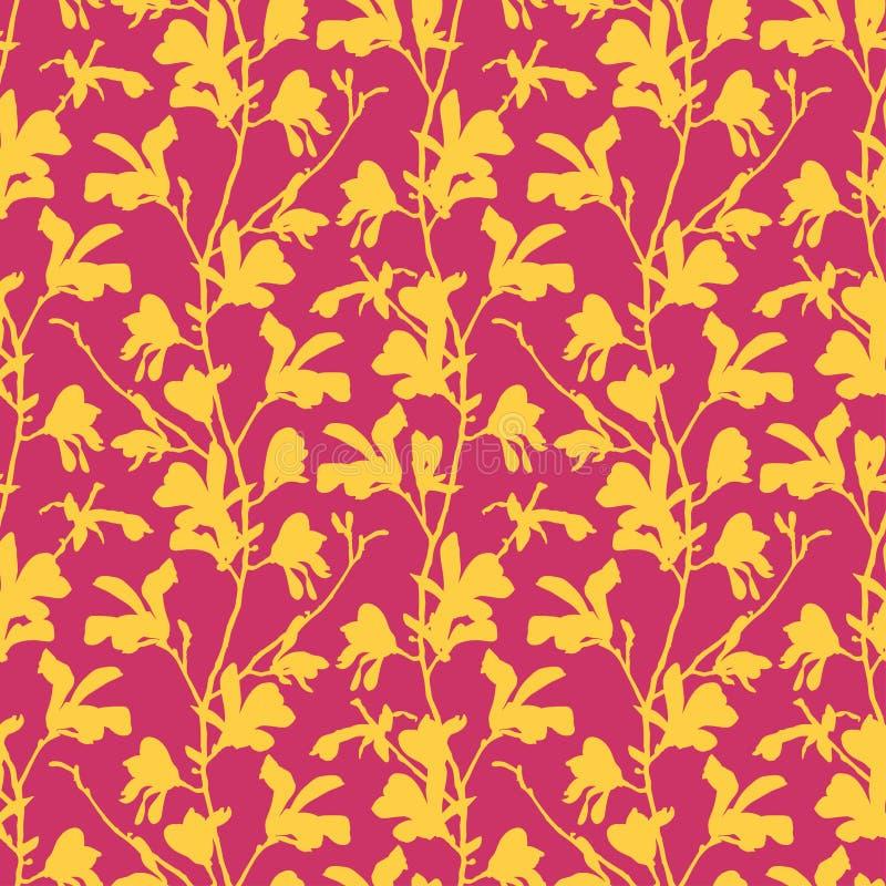 Modelo incons?til con el flor del ?rbol de la magnolia Fondo floral rosado con la flor de la rama y de la magnolia Dise?o de la p ilustración del vector