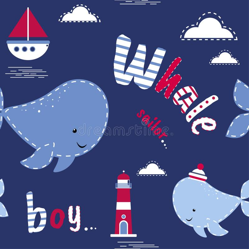 Modelo incons?til con las ballenas Diseño del vector, tema marino Vector lindo colorido del fondo Contexto con el texto ingl?s, a stock de ilustración