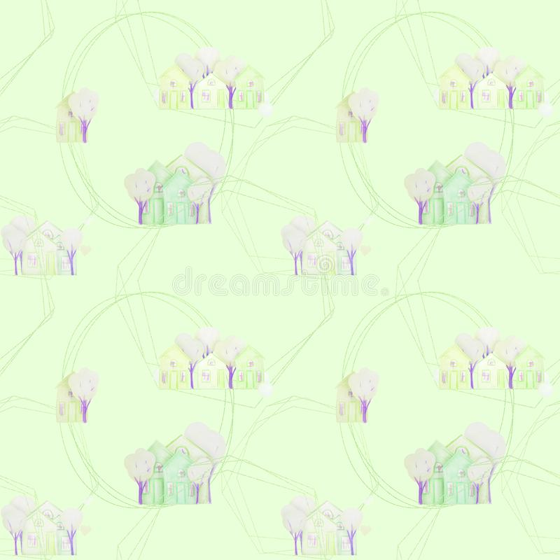Modelo incons?til con las casas del invierno dibujadas con los l?pices coloreados ilustración del vector