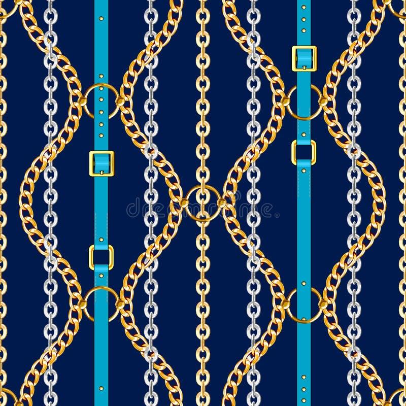 Modelo incons?til con las correas, el oro y las cadenas de plata ilustración del vector