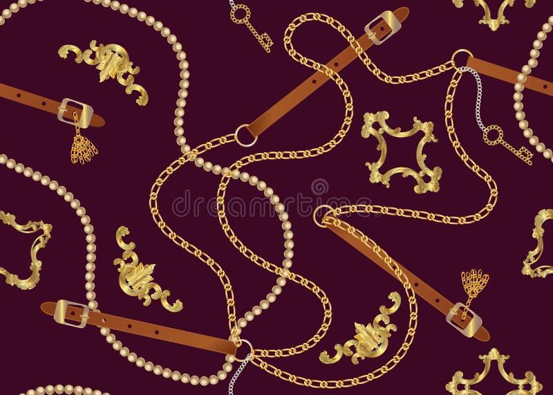 Modelo incons?til con las correas, la cadena, la trenza, la llave de oro y las perlas Impresi?n barroca Fondo para el dise?o de l libre illustration