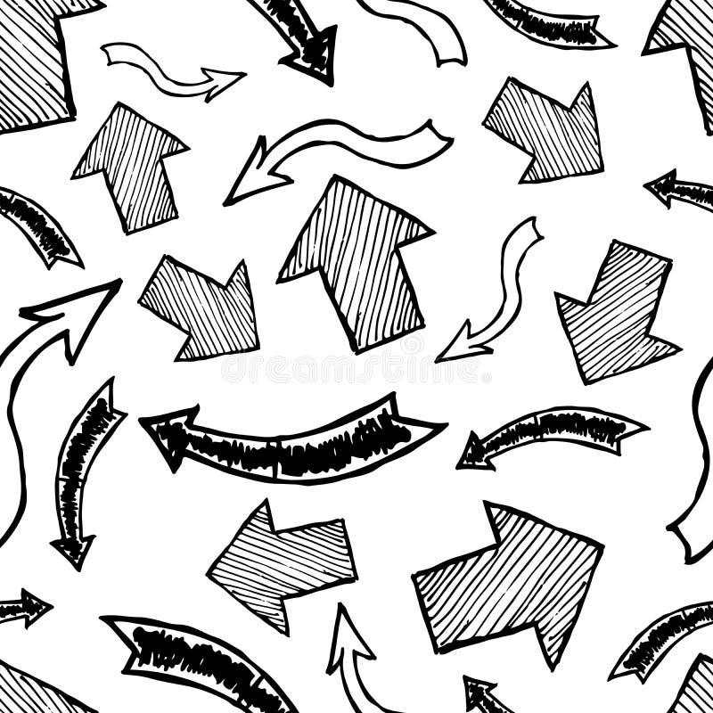 Modelo incons?til con las flechas exhaustas de la mano negra ilustración del vector