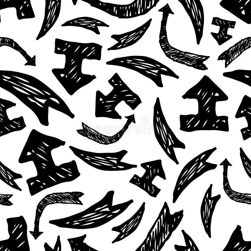 Modelo incons?til con las flechas exhaustas de la mano negra stock de ilustración