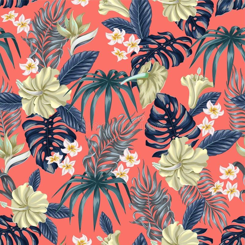 Modelo incons?til con las flores y las hojas tropicales tales como pl?tano, palma, hoja y narcisos, hibisco, plumeria del monster libre illustration