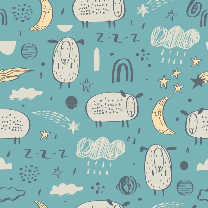 Modelo incons?til con las ovejas Luna, nubes, arco iris Fondo creativo del cuarto de ni?os Perfeccione para los muchachos y las m libre illustration