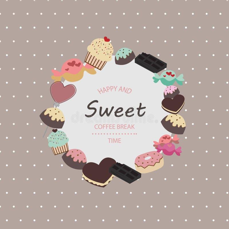 Modelo incons?til con las tortas dulces de la acuarela y sabrosas pintadas a mano libre illustration