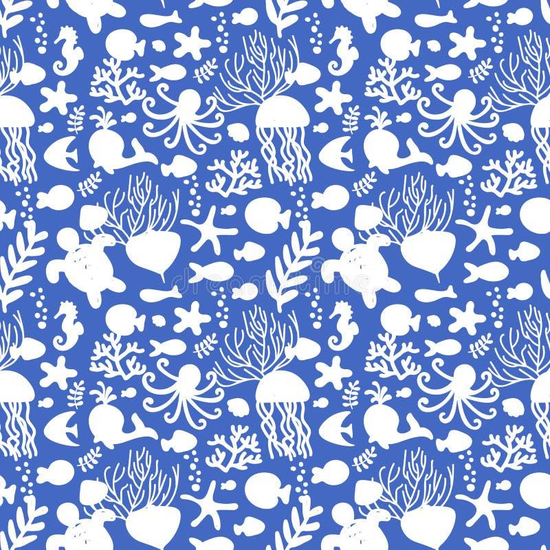 Modelo incons?til con los animales de mar Blanco y azul Pulpo, pescado, ballena, seahorse, conchas marinas, alga marina, estrella stock de ilustración