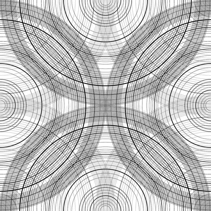 Modelo incons?til con los c?rculos conc?ntricos esquema Negro-blanco del fondo con los arcos Textura abstracta stock de ilustración