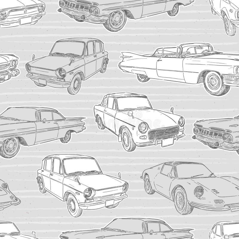 Modelo incons?til con los coches Coche retro Ilustraci?n del vector - El fichero del vector ilustración del vector