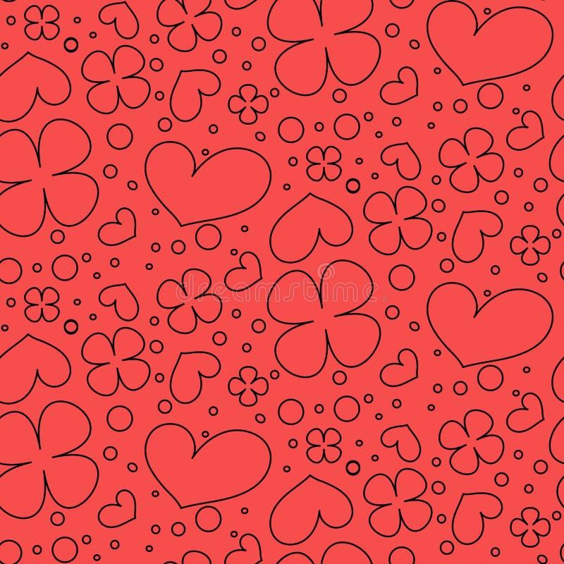 Modelo incons?til con los corazones y las flores ilustración del vector