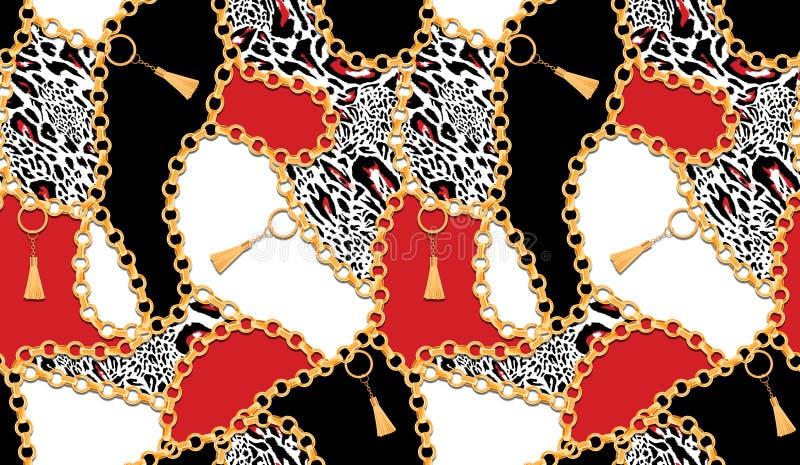 Modelo incons?til con los elementos del vintage correas y leopardo colorido stock de ilustración