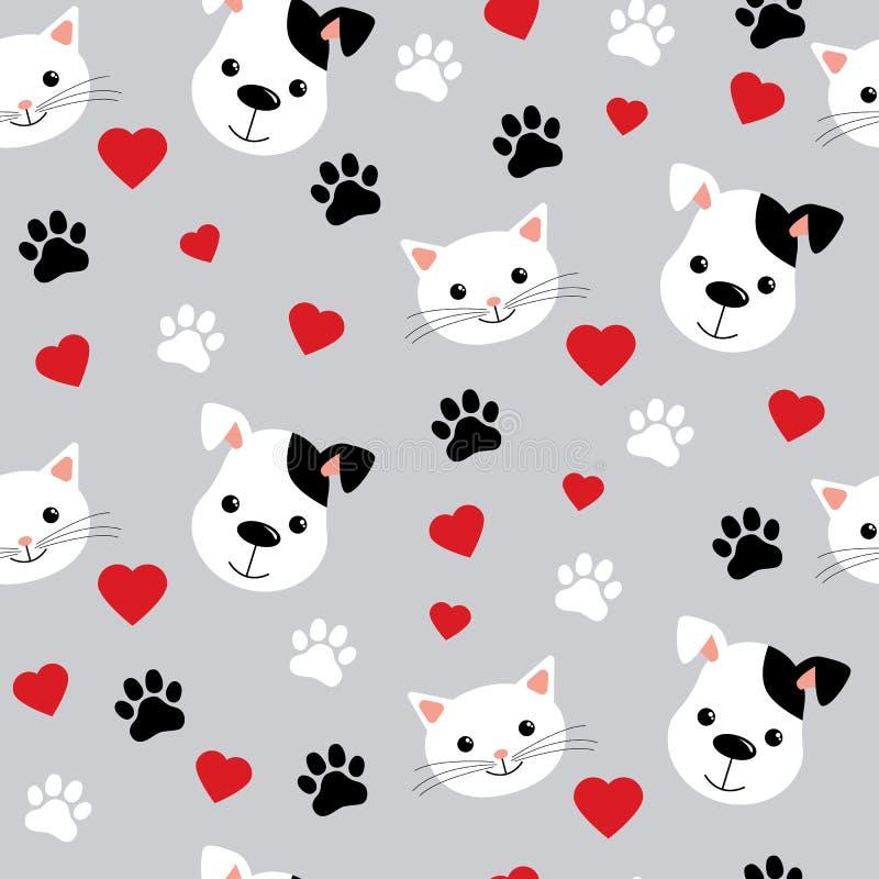 Modelo incons?til con los gatos y los perros lindos Ejemplo y dise?o preciosos del vector para las telas, la materia textil, el p libre illustration