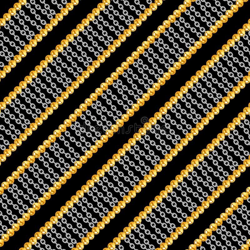 Modelo incons?til con oro brillante y cadenas de plata aislados en el fondo negro para la tela ilustración del vector