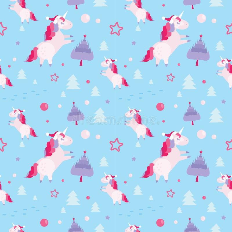 Modelo incons?til con unicornios, abetos, bolas, estrellas de la Navidad en fondo azul Plantilla del día de fiesta con la Navidad ilustración del vector
