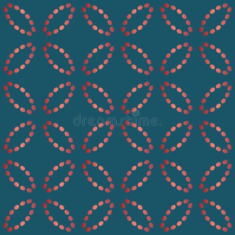 Modelo incons?til con ?valos de l?neas de puntos Bordado de seda de imitaci?n Fondo del vector ilustración del vector