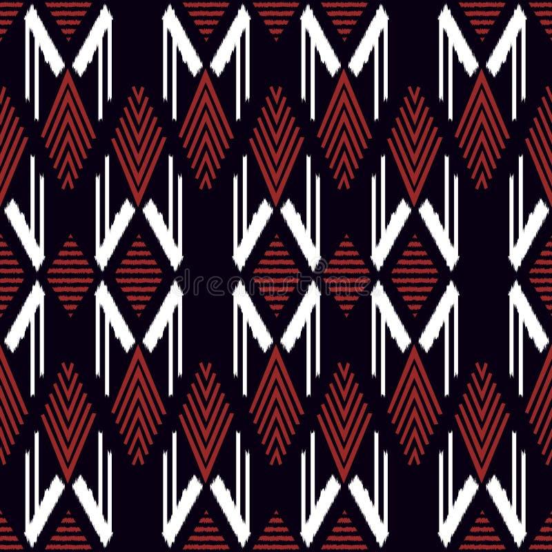 Modelo incons?til de Ikat como pa?o, cortina, dise?o de la materia textil, papel pintado, fondo superficial de la textura Ilustra ilustración del vector