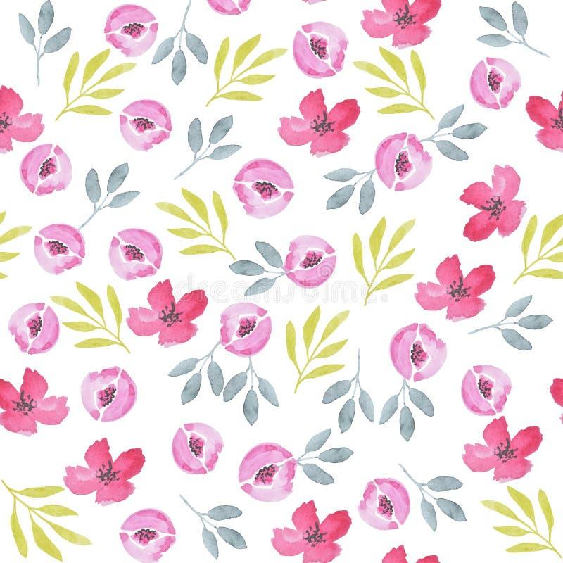 Modelo incons?til de la acuarela de los Wildflowers Las rosas y las hojas imprimen libre illustration