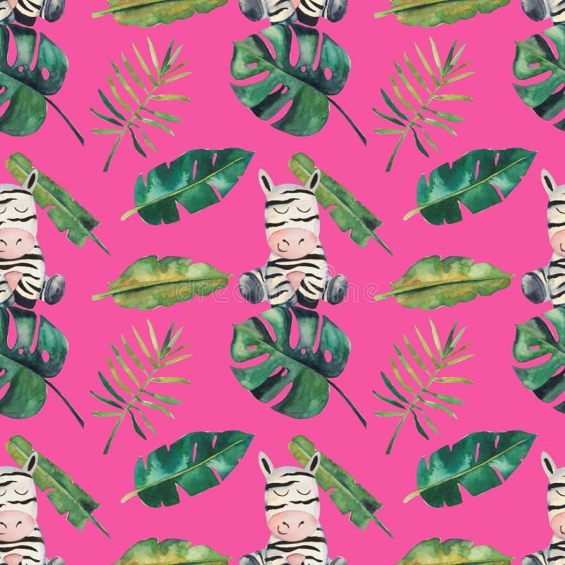 Modelo incons?til de la acuarela a mano Hojas tropicales verdes y una cebra libre illustration